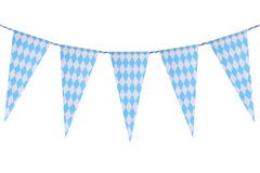 Bavarian bunting festoon. Original Bavarian bunting festoon from Germany with diamond pattern. Classic beer tent decoration. Isolated on white Royalty Free Stock Photography