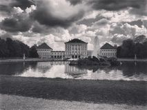 Bavarian Castle under clouds. Germany royalty free stock photography
