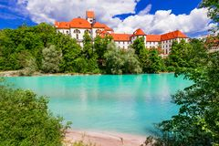 Bavarian castles- pictorial Fussen. Landmarks of Germany. Beautiful Fussen village,view with river and traditional houses,Germany Royalty Free Stock Photos