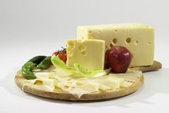 Bavarian cheese. On cutting board isolated Royalty Free Stock Image