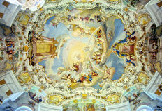 Bavarian church ceiling. Paradise evocation peinted on the ceiling of a baroque style Bavarian church, Germany Royalty Free Stock Photos