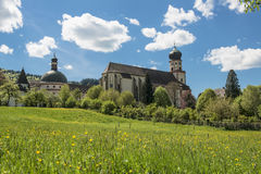 Bavarian church with oninon-domed tower. Church with onion-domed tower on a hill in the german Kaiserstuhl photographed on a beautiful day between spring and Stock Image