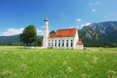 Bavarian Church. View of the church St Coloman in Bavarian Alps, Germany Royalty Free Stock Images