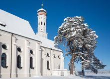 Bavarian Church at wintertime, Germany Royalty Free Stock Image