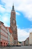 Bavarian city with clock tower-St. Martin Kirche Royalty Free Stock Photos