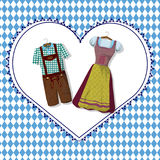 Bavarian clothing  Dirdle and Lederhosen. Traditional German Bavarian clothing  Dirdle and Lederhosen . October fest. Greeting card from Munich Stock Photography