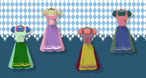 Bavarian clothing: Dirdle. Traditional German Bavarian clothing Dirdle. October fest. Card vector illustration