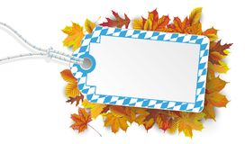 Bavarian Colors Price Sticker Autumn Foliage. Price sticker in bavarian national colors with autumn foliage Stock Photo