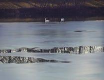 Bavarian counrtyside, frozen lake with landscape reflection at dusk Stock Photography