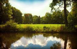 Bavarian countryside,reflections on a pond Royalty Free Stock Photo