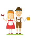 Bavarian couple with beer and sausages Royalty Free Stock Photography