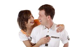 Bavarian Couple in love looks at each other Royalty Free Stock Images