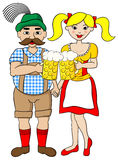 Bavarian couple with oktoberfest beer Stock Images
