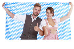 Bavarian couple in traditional costume Stock Images