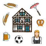Bavarian culture and traditions icons Royalty Free Stock Images