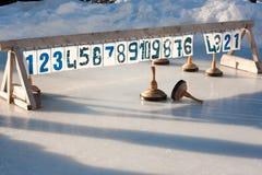 Bavarian curling. Ice stock sport rink closeup Stock Image