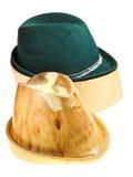 Bavarian felt hat on linden wooden block Royalty Free Stock Photos