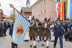 Bavarian flag of Gebirgsschützen Stock Images