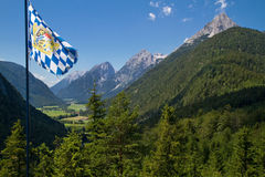Bavarian flag in the mountains Stock Image