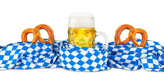 Bavarian flag pretzel and  beer Royalty Free Stock Image
