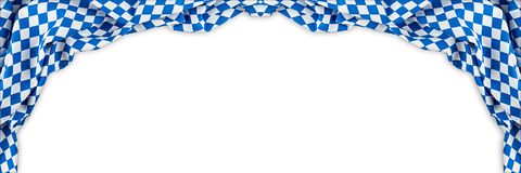 Bavarian flag wide panorama oktoberfest background. With white blue bavaria isolated white background royalty free stock photo