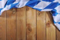Bavarian flag on wooden board Royalty Free Stock Photos