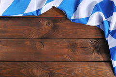 Bavarian flag on wooden board Royalty Free Stock Photos