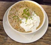 Bavarian food, bread dumpling with mushroom sauce Royalty Free Stock Images
