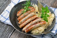 Bavarian fried sausages Stock Photo