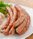 Bavarian fried sausages Royalty Free Stock Images
