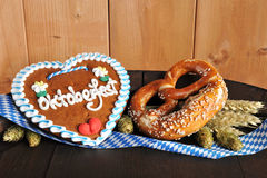 Bavarian gingerbread heart with Oktoberfest soft pretzel Royalty Free Stock Image