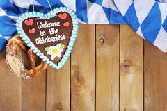 Bavarian gingerbread heart with soft pretzel Stock Image
