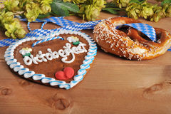 Bavarian gingerbread heart with soft pretzel Royalty Free Stock Images