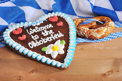 Bavarian gingerbread heart with soft pretzel Royalty Free Stock Photography