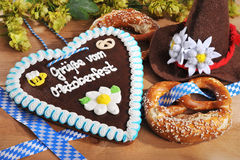 Bavarian gingerbread heart with soft pretzels Stock Images