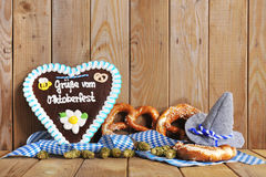 Bavarian gingerbread heart with soft pretzels Royalty Free Stock Photo