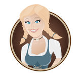 Bavarian girl in a badge Royalty Free Stock Photography