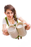 Bavarian girl with  beer Stock Photos