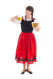 Bavarian girl with cups of beer Royalty Free Stock Image