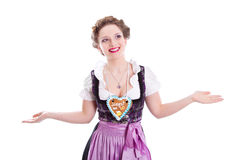 Bavarian girl do not know - woman isolated on white background Royalty Free Stock Photos