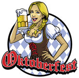 Bavarian girl with a glass of beer celebrating oktoberfest Royalty Free Stock Photos