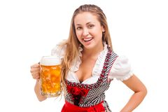 Bavarian girl isolated over white background Stock Photography