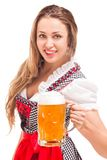 Bavarian girl isolated over white background Royalty Free Stock Photos