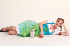 Bavarian girl laughing Stock Photography