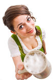 Bavarian girl offering beer Stock Photos