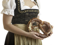 Bavarian Girl with Oktoberfest Pretzel Stock Photography