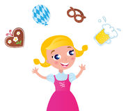 Bavarian girl in pink dress. Cute blond bavarian girl with accessories isolated on white. Vector Illustration Stock Images