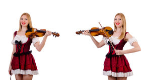 The bavarian girl playing the violin isolated on white Stock Photos