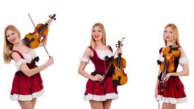 The bavarian girl playing the violin isolated on white Royalty Free Stock Photos