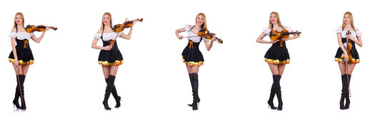 The bavarian girl playing the violin isolated on white Royalty Free Stock Photography
